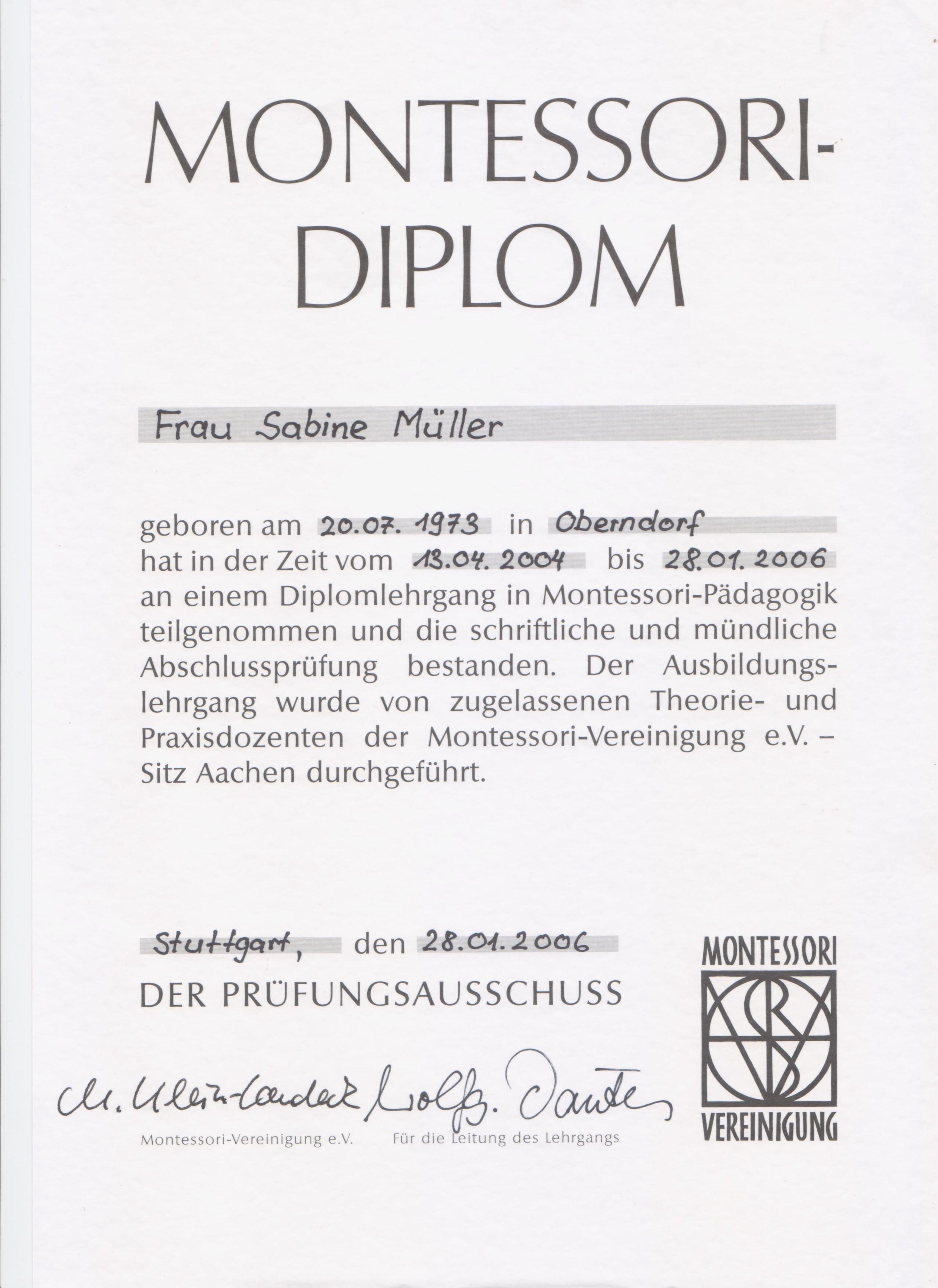 Das Montessori-Diplom von Sabine Müller