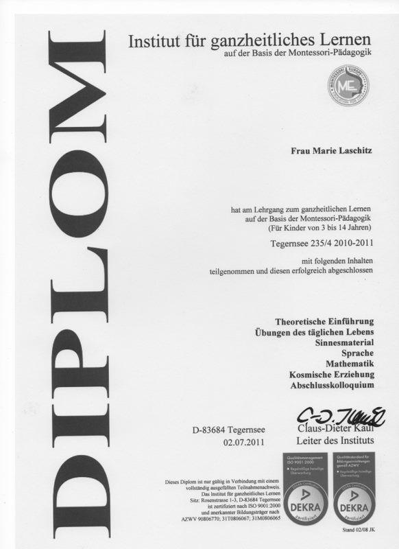 Das Montessori-Diplom von Marie Laschtiz