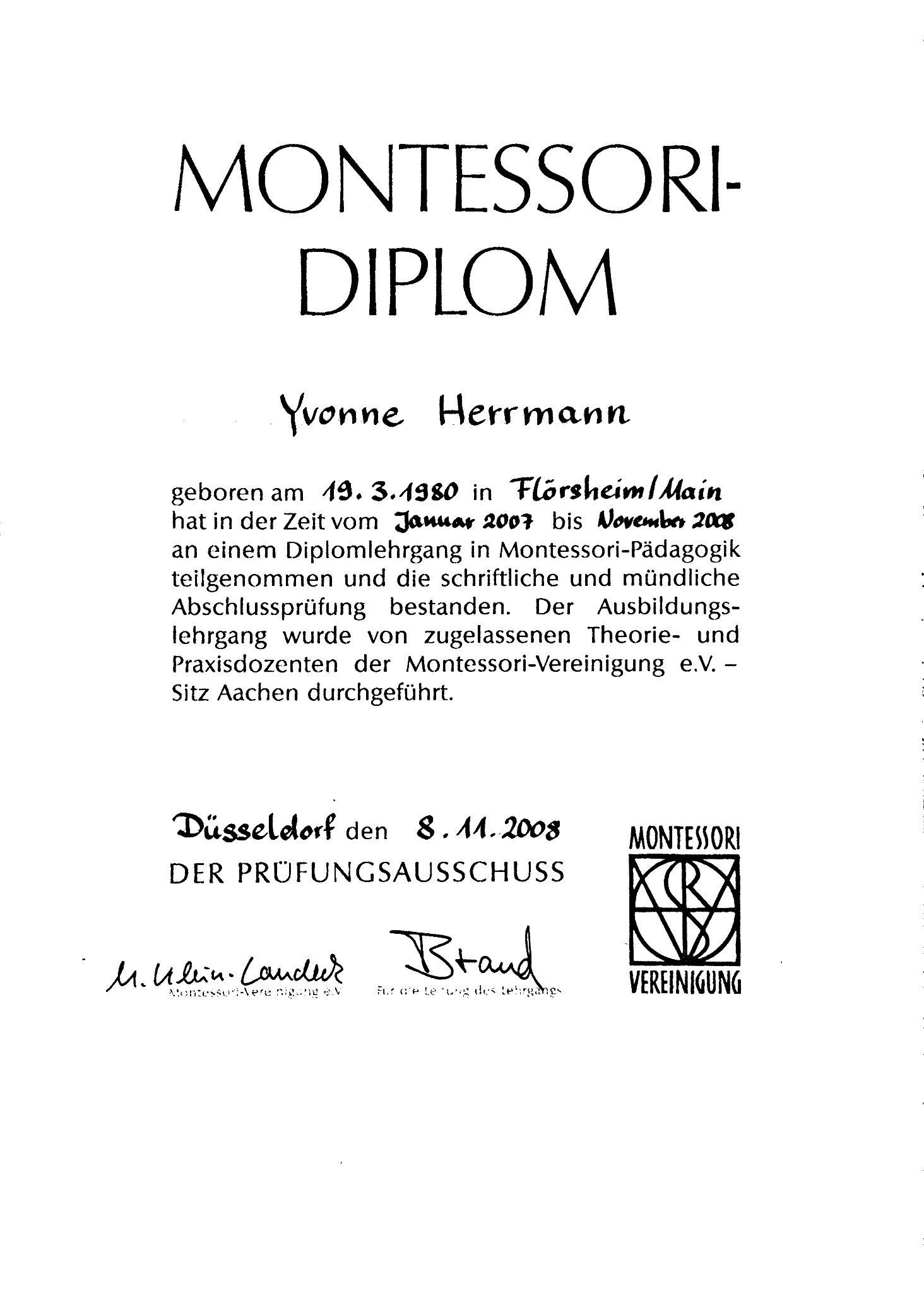 Das Montessori-Diplom von Yvonne Herrmann