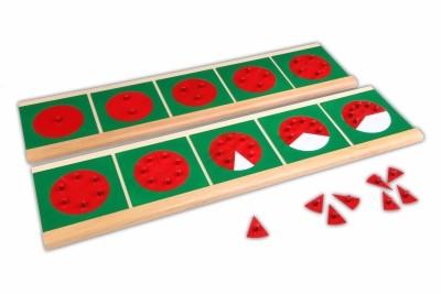 Bruchrechenkreise mit 2 Ständern - Montessori Material