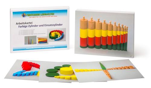 Arbeitskartei Farbige Zylinder und Einsatzzylinder Montessori ...