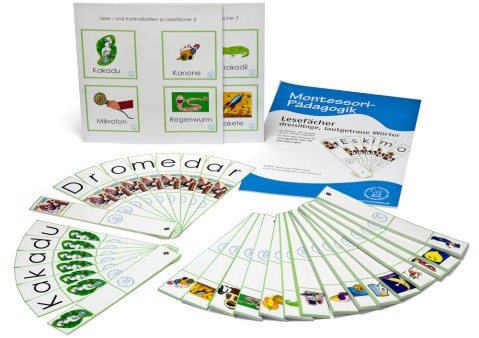 Lesefächer mit 20 dreisilbigen, lautgetreuen Wörtern