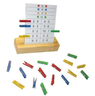 Schede per utilizzare delle mollette: piccola tavola pitagorica, mezzo didattico creativo