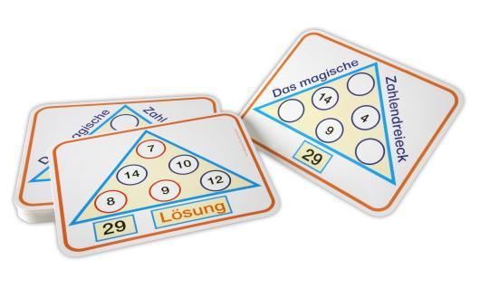 Montessori Zahlendreiecke mit Lösungen auf der Rückseite