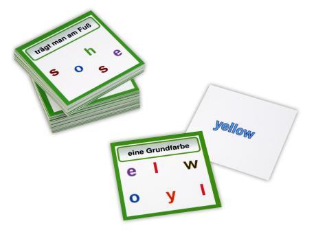 Englische Purzelwörter mit 60 verschiedenen Vokabeln und rückseitiger Selbstkontrolle