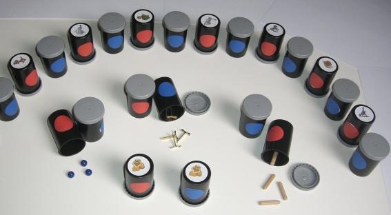 Montessori Rascheldosen, 30 teiliges Fördermaterial