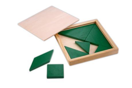 Das Tangram in verschiedenen Farben.