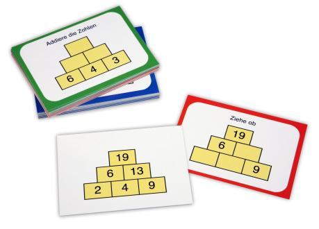 Insgesamt 36 Zahlenmauerkarten für die Addition und Subtraktion.